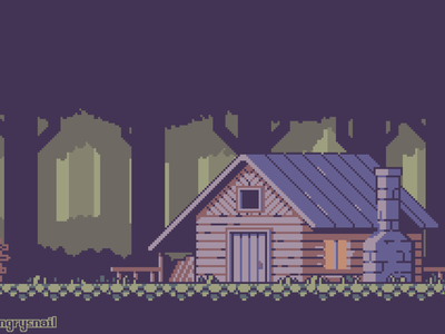 Cabin deep in the forest pixel art retro design 16bit game design environment design artwork illustration pixelart 8bit