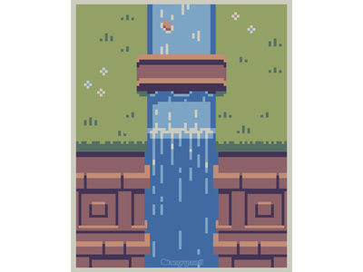 Waterfall pixel game design artwork illustration environment design 16bit gameart pixel art pixelart 8bit