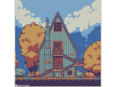 Cozy autumn design artwork indiegame sprite environment design gameart aseprite illustraion art architecture pixel art pixelart 8bit
