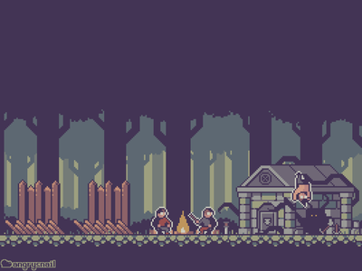 Cursed Bandit Outpost game design sprite pixel artwork illustration environment design gameart pixel art pixelart 8bit