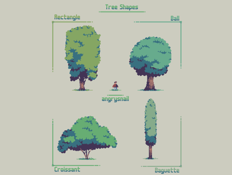 Tree Shapes artwork game design gameart sprite illustration environment design nature tree pixel art pixelart 8bit