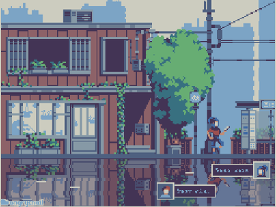 Waiting for the bus cityscape city japan design architecture 8bit artwork illustration environment design pixel art pixelart