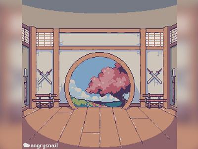 Dojo background design interrior japan dojo fighting background art game gamedev environment design gameart pixel art pixelart 8bit