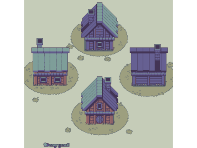 Topdown pixelart house from all 4 sides