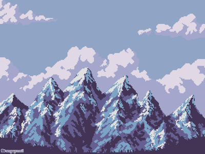 Mountains sprite artwork 8bitart landscape illustration landscape environment art mountains illustration design environment design pixelart 8bit
