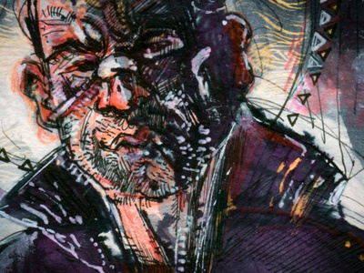 Frank Castle blue purple red pencil texture drawing reedicus ink illustration colorful punisher sketch