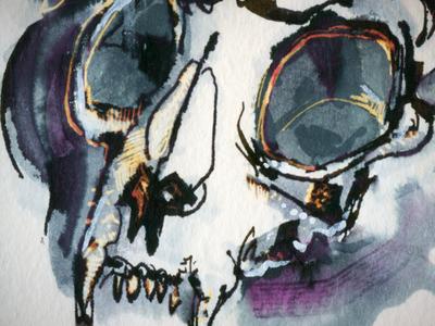 Skull bleach blue purple skull texture drawing reedicus ink illustration art sketch