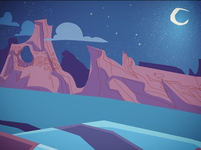 No Vacancy1 clouds stars hills road mountains illustration blue desert sky moon illustrator