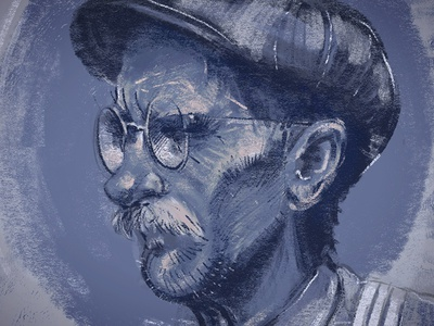 Blue Man painting digital man blue glasses mustache