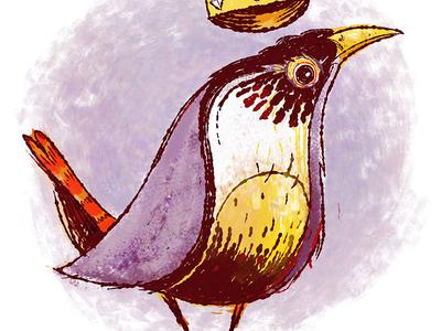King Wren drawn photoshop feather crown bird