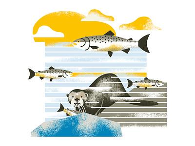 Otter nature animals illustrated animals otter illustration