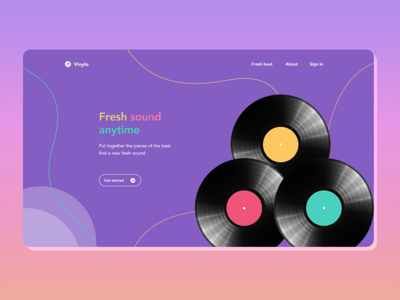 Music Homepage homepagedesign music player vinyl fresh fun music web design uxdesign uidesign