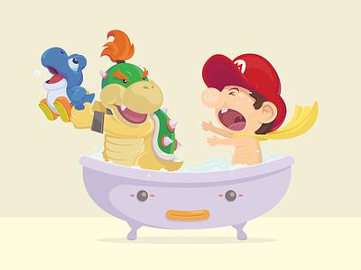 Baby Bowser Baby Mario Bubble Bath baby bowser mario bubble bath tub gaming video yoshi bubbles vector illustration fan art character design