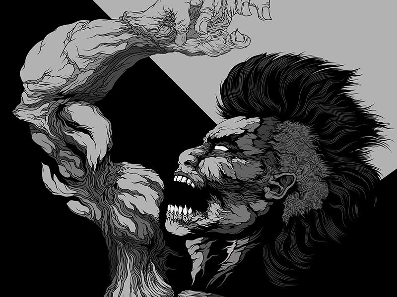 progress figure face muscle lines detail vector illustration dark