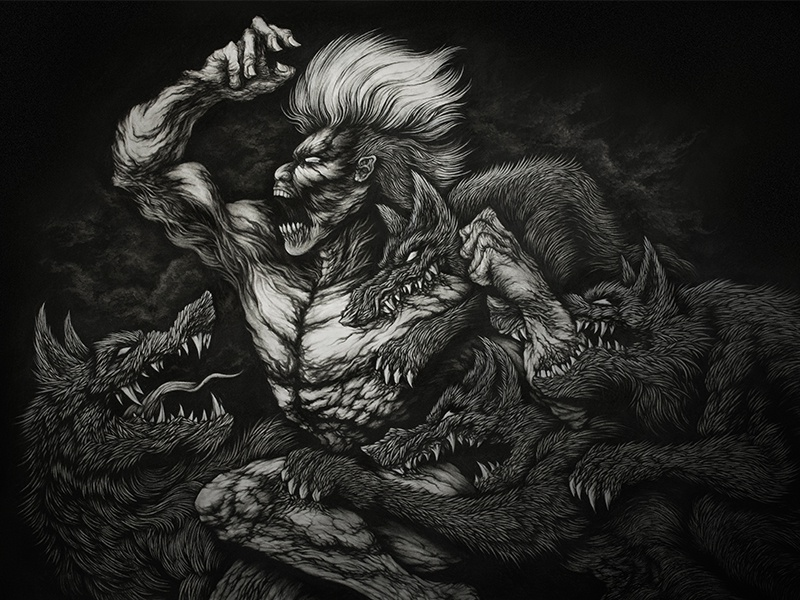 Scars scars illustration wolf black white darkness demon emotion drawing lines figure character