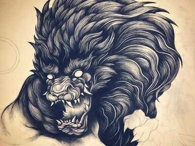 Dark Lion lion dark charcoal line art design animal beast evil drawing illustration