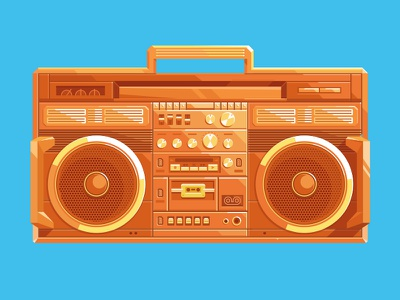 Viget Boombox circle electronics flat vector retro illustration boombox viget