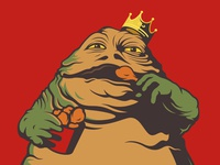 Jabba eating fried chicken