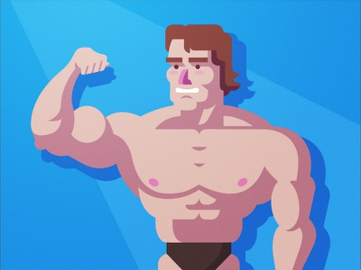 Arnold - Mr. Olympia vector flat blue character design minimalism illustration fitness muscles olympia viget joseph le arnold