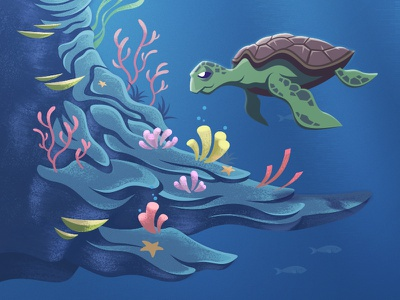 WCS Project preview viget texture digital painting illustration ocean sea underwater coral reef turtle water