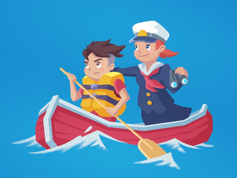 Ponyo 2: A Salty Relationship girl boy ghibli fan art water blue sea boat illustration ocean ponyo