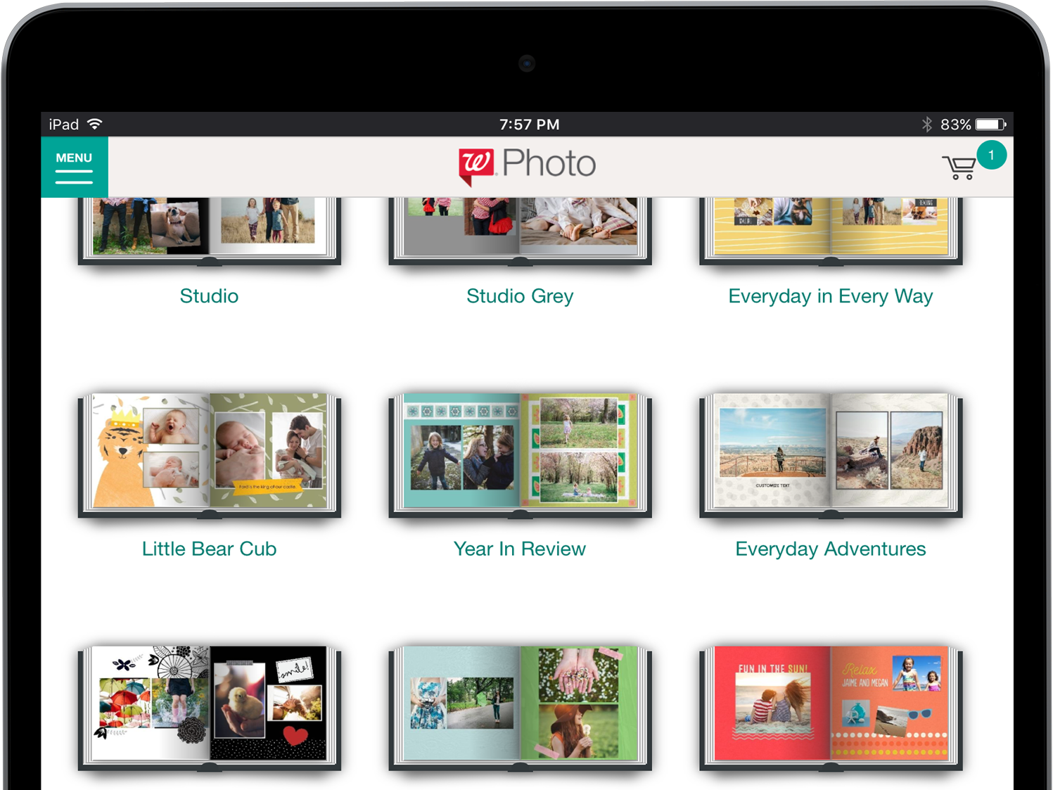 Walgreens Photo Books Browse Style Page tablet grid layout responsive web ux userexperiencedesign