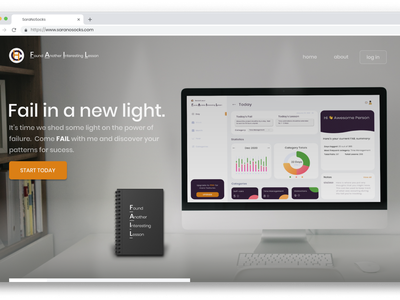 FAIL in a new light concept ui web design landing page