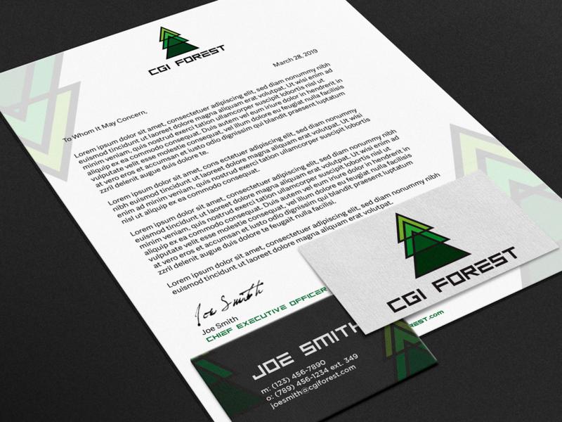 Branding Package for CGI Forest branding graphicdesign concept logo illustrator design geometric letter website brand design tree trees cgi brand