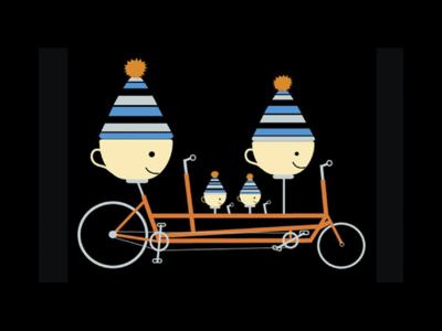 Coffee Cups on a Bike illustration