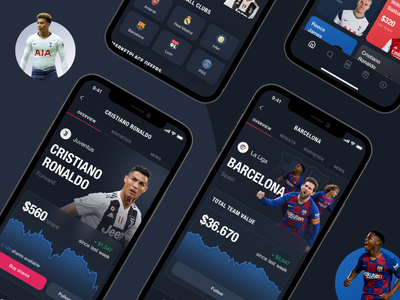 FanTrade. Mobile app to trade footballers futures app banking app payments screen football trading app trading dark mode interaction figma ux ui sport mobile design