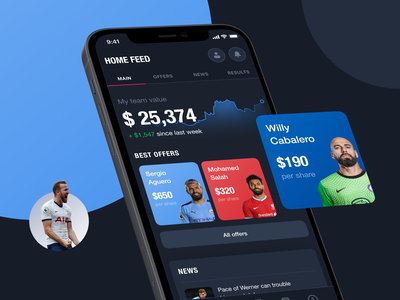 FanTrade. Mobile app to trade footballers futures interaction football app design app dark theme app trading football sport typography mobile design ux ui