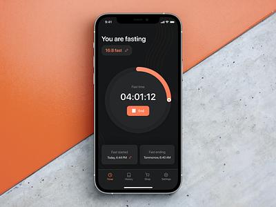 Fasting App progress timer interaction diet fasting health care dark mode mobile app ux ui design