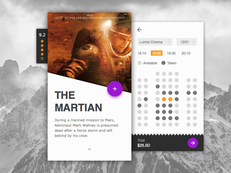 Day 003 - Cinema Application select seat mobile material android martian ticket ui cinema