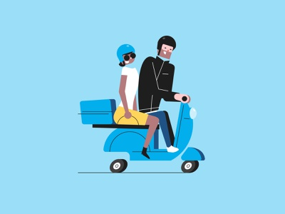 Scoot, scoot. couple riding scooter vintage flat vector illustration