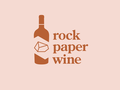 Wine club identity food beverage hospitality paper rock wine typography flat logo branding vector