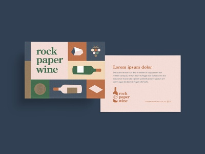 Wine Club postcard beverage hospitality paper rock wine food packaging icons flat branding vector illustration