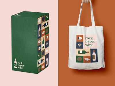 RPW Box & Tote Bag paper rock tote bag box wine beverage food vector packaging icons logo branding illustration