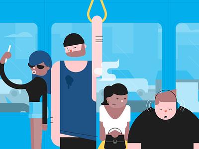 The joys of public transport loud cramped smelly uncomfortable public transport people train flat vector illustration