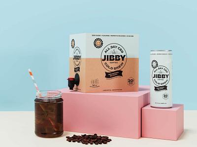 Jibby CBD Cold Brew beverage drink cbd coldbrew coffee box can packaging logo branding