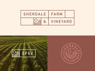 SF&V Logos fresh produce vineyard organic farm grapes wine food packaging typography logo branding vector