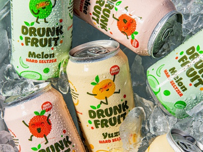 Drunk Fruit logo branding can packaging hard seltzer seltzer colour fruit drunk