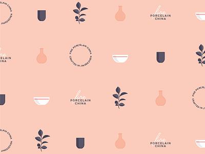 Porcelain Pattern pattern vase cup bowl ceramic china porcelain graphic flat icons vector illustration