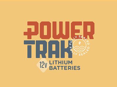 PowerTrak batteries camping power battery logo branding