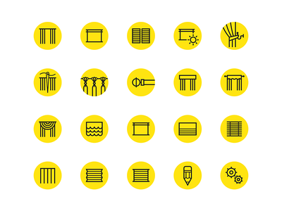 DC+B Icon set blinds curtains icons retail identity branding