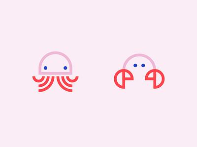 Salty logos crab jelly fish sea creature sea icons illustration flat vector logo branding