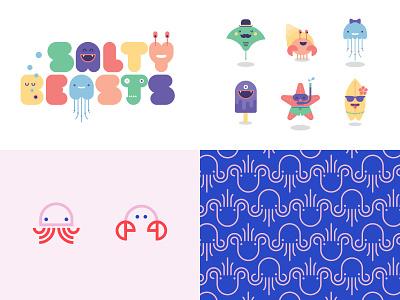 2018 ocean crab jelly fish sea creature icons flat vector illustration