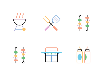 Sprinkle BBQ Icons grill bbq food icons flat vector illustration