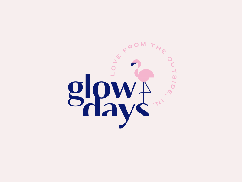 Glow Days palm springs pink flamingo beauty cosmetic face mask skincare brand identity logo