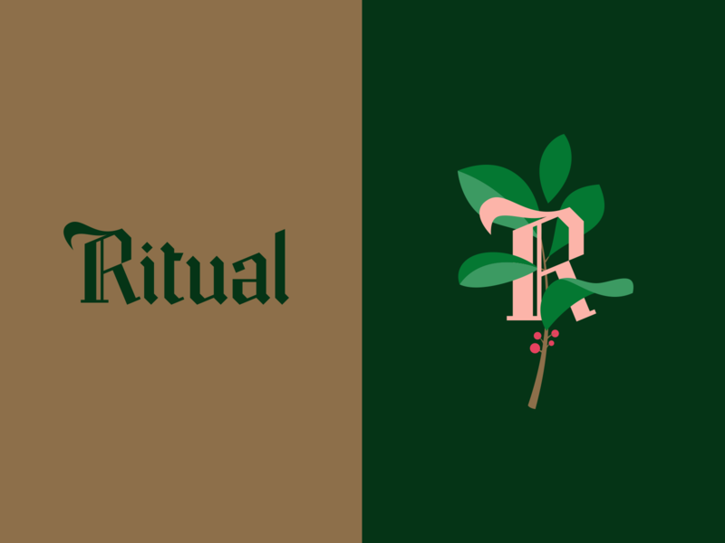 Ritual leaves drink beverages tea type design gothic blackletter lettering typography branding logo
