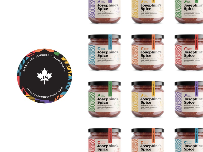 J'S Spice jar labels gourmet fish shrimp jar label packaging branding hot sauce cuisine food canadian african